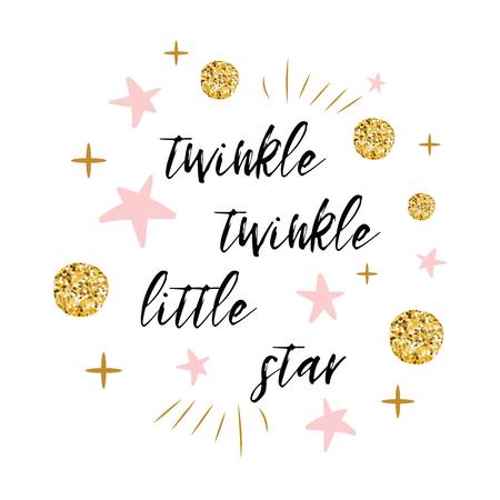 골드 폴카 도트와 여자 아기 샤워 카드 템플릿 핑크 스타와 함께 반짝 반짝 빛나는 작은 스타 텍스트 일러스트