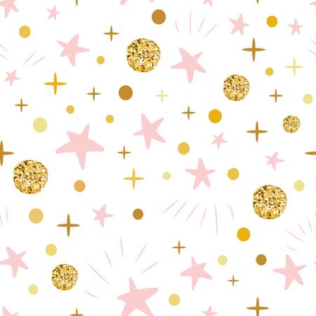 Übergeben Sie gezogenes nahtloses Muster decoreted Goldkugelrosa-Sterne für Weihnachten backgound oder Babyparty