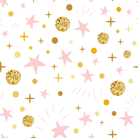 Hand drawn seamless pattern decoreted gold balls pink stars for Christmas backgound or baby shower