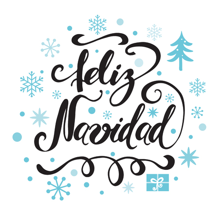 Merry Christmas Typography design with blue snowflakes, ornament and Inscription in Spanish vector Illustration