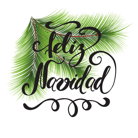 Merry Christmas Print Typography design with green Christmas tree branches and Title in Spanish vector Illustration