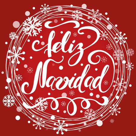 Merry Christmas text into circle snowy frame Banner design template with words in Spanish vector Vettoriali