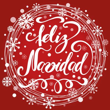 Vrolijke Kerstmistekst in het ontwerpmalplaatje van het cirkel sneeuwkader Banner met woorden in Spaanse vector