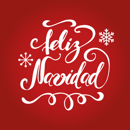 Hand lettering text Merry Christmas vector illustration in spanish