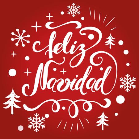 Leuk Kerstmisteken met witte Kerstboom, sneeuw, sneeuwvlokken Vectorillustratie