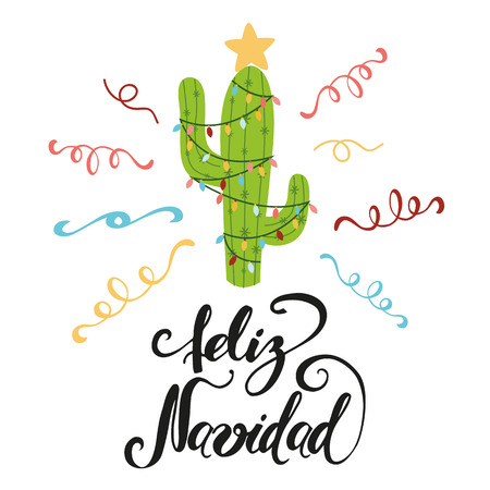 Merry Christmas banner. Happy cactus in a Christmas garland. Cute vector greeting card, print, label, poster, sign. Title in Spanish. Vector illustration. Hand drawn mexico design. Hand lettering Фото со стока