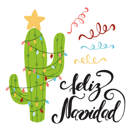Merry Christmas banner. Happy cactus in a Christmas garland. Cute vector greeting card, print, label, poster, sign. Title in Spanish. Vector illustration. Hand drawn mexico design. Hand lettering Ilustração