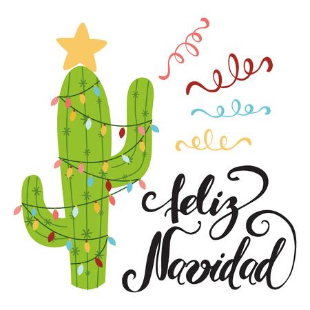 Vrolijk kerstfeest banner. Gelukkige cactus in een Kerstmisslinger. Leuke vectorgroetkaart, druk, etiket, affiche, teken. Titel in het Spaans. Vector illustratie. Hand getekend mexico ontwerp. Hand belettering Stock Illustratie