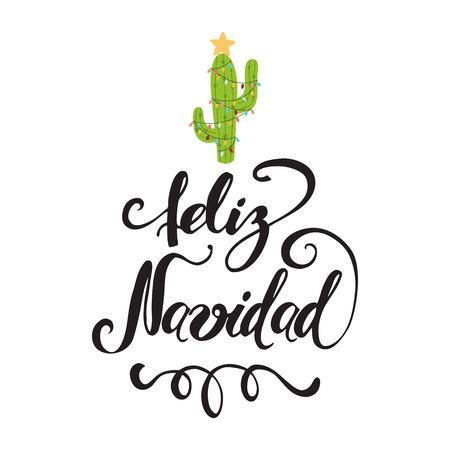 Banner de feliz Navidad. Feliz cactus en una guirnalda de Navidad. Tarjeta de felicitación de vector lindo, impresión, etiqueta, cartel, signo. Título en español. Ilustración vectorial Mano dibujada diseño de México. Rotulación a mano Foto de archivo - 91479099