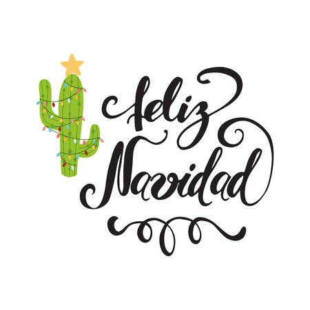 Merry Christmas banner. Happy cactus in a Christmas garland. Cute vector greeting card, print, label, poster, sign. Title in Spanish. Vector illustration. Hand drawn mexico design. Hand lettering Illustration