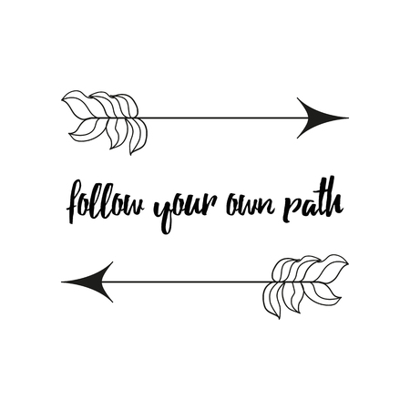 Follow your path Modern brush calligraphy. Hand lettering design elements with cute arrows