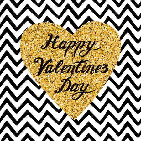 Hand drawn gold sparkle heart, text Happy Valentines Day on zigzag  pattern.