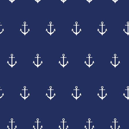 Seamless vector sea pattern with white anchors on dark blue background