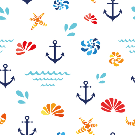 Vector seamless pattern with sea shells, wave, anchor. Ocean design, textile, background. Ilustracja