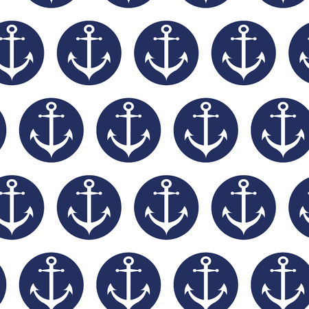 Seamless vector sea pattern with white anchors in dark blue color. Endless summer vacation ocean template for wallpaper, pattern fills, web, surface textures, fabric, textile, package design, wrap