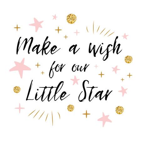 여자 아기 샤워 카드 템플릿에 대한 골드 폴카 도트와 핑크 스타와 함께 우리의 작은 별 텍스트에 대한 소원을 확인하십시오