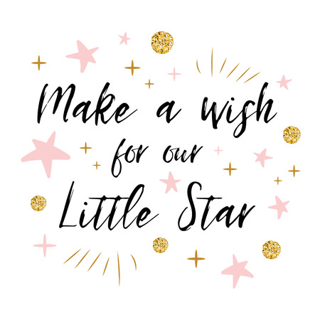 Doe een wens voor onze Little Star-tekst met gouden stip en roze ster voor de kaartsjabloon van de meisjesbaby shower Stock Illustratie