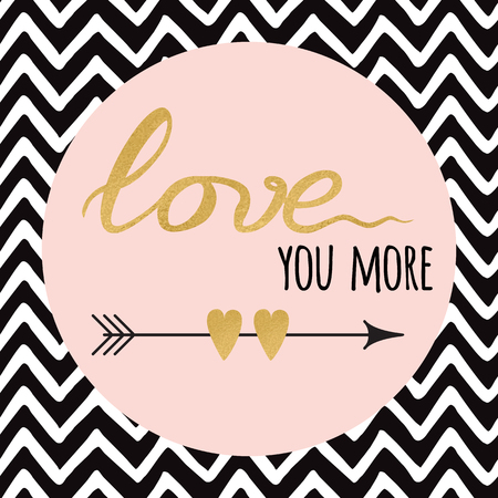 Gold sparkle text Love with arrow on zig zag background for print, sign or banner