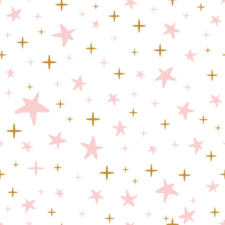 Hand drawn seamless pattern decorated gold pink stars for Christmas background or baby shower wallpaper.