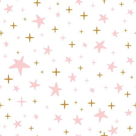 Ręcznie rysowane wzór zdobione złote różowe gwiazdki na tle Bożego Narodzenia lub baby shower tapety.
