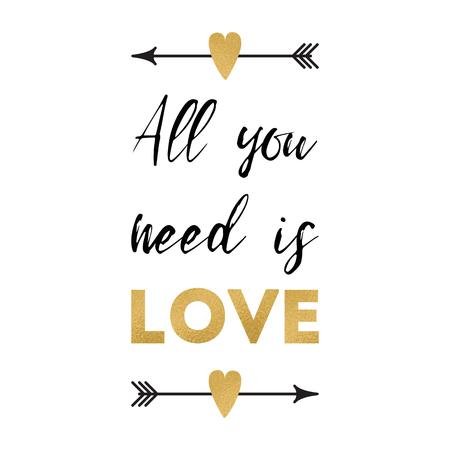 必要なのは愛だけだベクトルバレンタインデーグリーティングカードと肯定的なフレーズは、ロマンチックな矢印の心を飾りました。結婚式のバナ