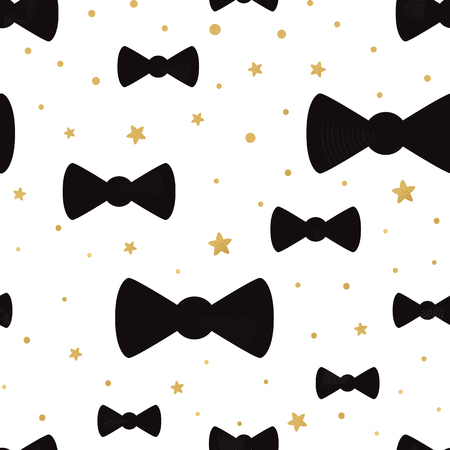 Vector cute hipster bow tie seamless pattern background with golden polka dot ornament. Great for baby shower design, wallpaper, wrap, cover, web template. Gentleman package design