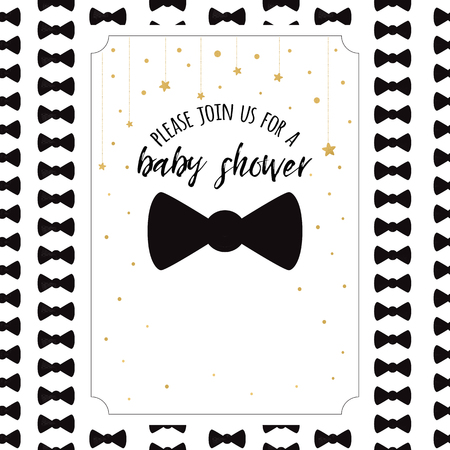 Baby Shower Invitation Template with sparkle golden stars, bow tie on white background. Gentle banner for boy birthday party, congratulation, invitation. Vector illustration sign label print Vettoriali