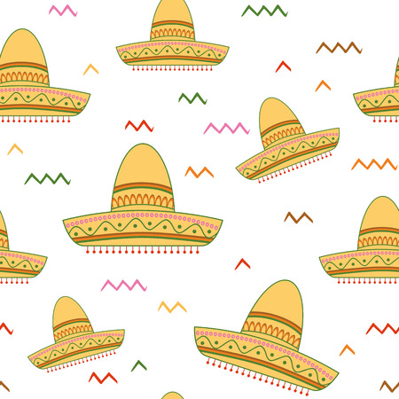 Bright seamless vector background with Mexican symbols sombrero hat Illustration