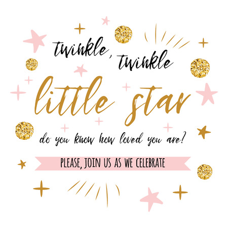 Twinkle twinkle little star text with gold polka dot and pink star for girl baby shower card invitation template.  イラスト・ベクター素材