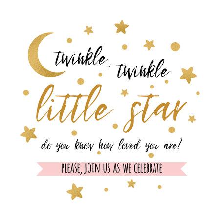 Fonkel fonkel weinig stertekst met gouden ster en maan voor de uitnodiging van de het baby showerkaart van de meisjesjongen. Stockfoto - 93648008