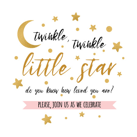 Twinkle twinkle little star text with gold star and moon for girl boy baby shower card invitation.