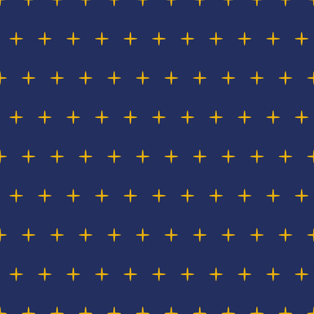 Vector seamless pattern decorated yellow stars polka navy background for textile, sky background. Star sky design