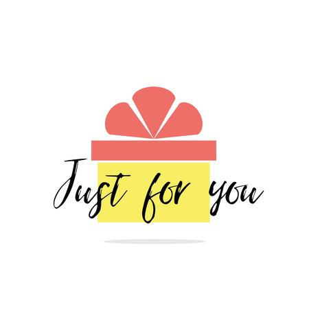 Positieve zin alleen voor jou. De doosvorm van de beeldverhaalgift met roze en gele kleuren en lint Vectorillustratie. Helder element voor labels, logo's, badges, stickers of pictogram voor verjaardagscadeau of cadeau.