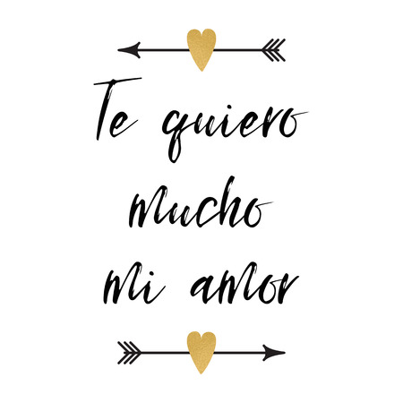 Valentines day greeting card with positive phrase decorated abstract arrows hearts logo, sign, print title in Spanish