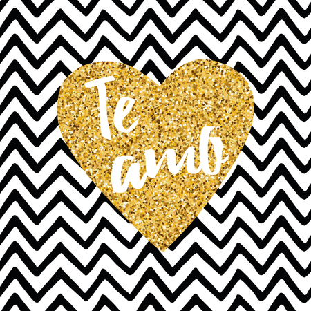 Hand drawn gold sparkle heart, text Love you on zig zag seamless pattern. Title in Spanish