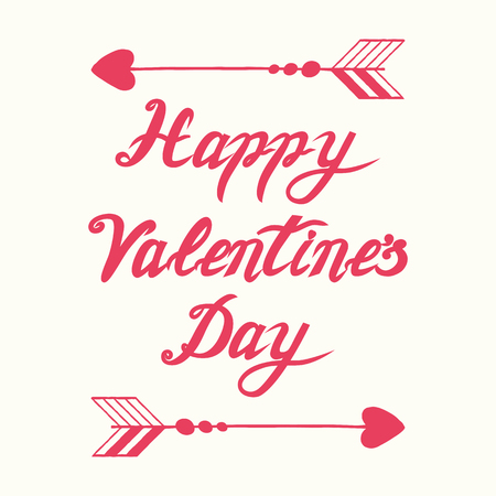 Cute handwritten romantic Happy Valentines Day calligraphy banner decorated floral pink arrow Vector hand drawn vintage lettering element for 14 February design. Card, print, label sticker  icon