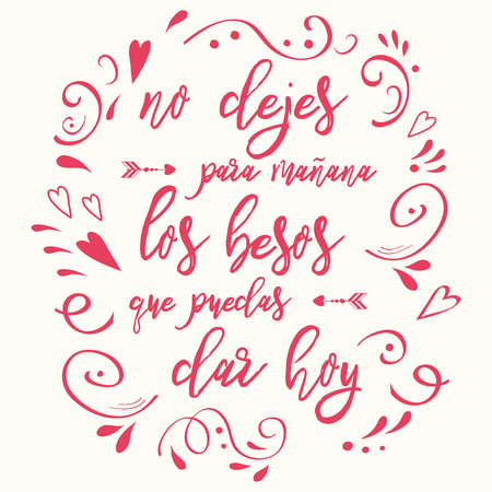 Phrase about love decorated pink hand drawn ornament. Romantic card. Lettering element. Text in Spanish