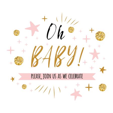 Texto do bebê de Ggentle oh com ouro bonito, cores cor-de-rosa para a ilustração do vetor do molde do convite do cartão da festa do bebê da menina. Banner para design de aniversário de crianças, rótulo, impressão, sinal, símbolo Foto de archivo - 94318810