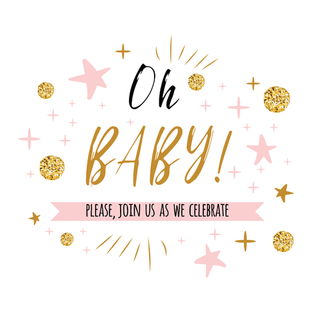 Ggentle Oh baby text with cute gold, pink colors for girl baby shower card invitation template Vector illustration. Banner for children birthday design, label, print, sign, symbol 版權商用圖片 - 94391370