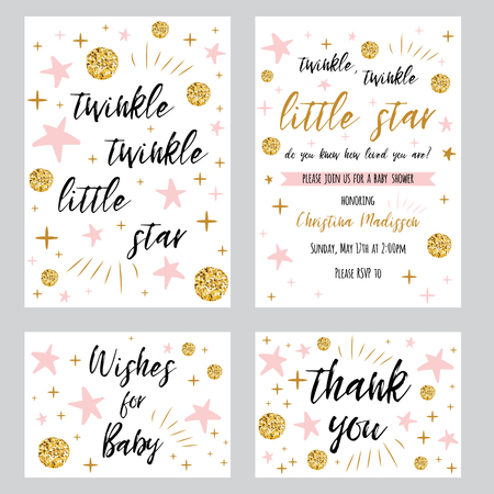 Twinkle twinkle little star text with cute gold, pink colors for girl baby shower card template Vector illustration set Banner for children birthday design, invitation, thank woy card, wishes for baby Banco de Imagens