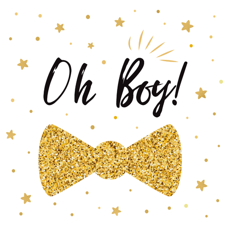 Oh boy cute baby shower with gold stars bow tie butterfly. Boy birthday invitation 向量圖像