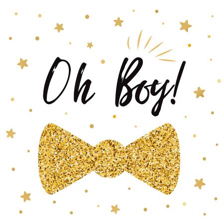 Oh boy cute baby shower with gold stars bow tie butterfly. Boy birthday invitation 版權商用圖片 - 94792872