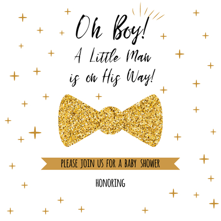 Oh boy textbaby shower with gold stars bow tie butterfly. Boy birthday invitation