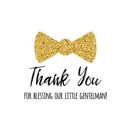 Vector phrase Thank you decorated gold bow tie butterfly. Boy baby shower card template
