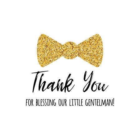 Vector zin dank u versierd gouden vlinderdas vlinder. Jongen baby douche kaartsjabloon Stockfoto - 94792895
