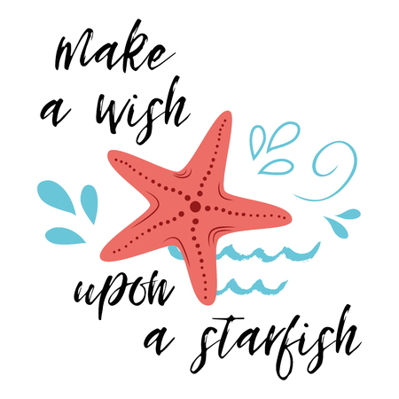 Sea poster with sea fish phrase Make a wish upon a star, wave, seastar Vector typographic banner inspirational quote.