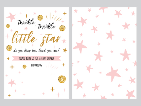 Baby shower invitation template, backgtround with pink stars design, vector set