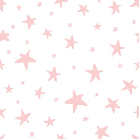 ベクトルシームレスパターンは、クリスマスバックグンド、誕生日ベビーシャワーテキスタイルのためのピンクの星をデコア化