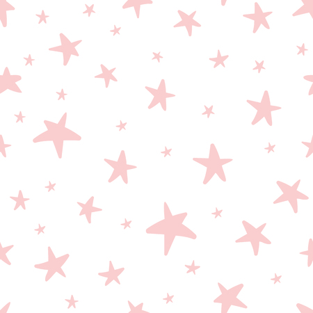 Vector seamless pattern decoreted pink stars for Christmas backgound, birthday baby shower textile Çizim