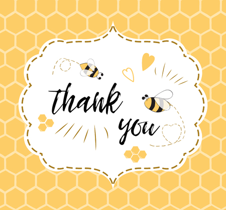 Baby shower invitation template with text Thank you with bee, honey. Cute card design for girls boys with bees. Vector illustration. Banner for children birthday congratulation on honeycomb background